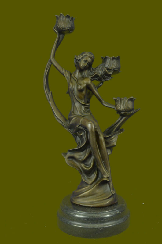 BRONZE SCULPTURE CANDLE HOLDER CENTERPIECE NUDE STATUE ON MARBLE BASE SALE GIFT