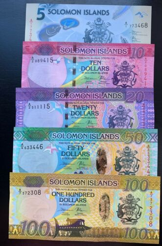 Solomon Islands 5 10 20 50 100 dollars 2013-2019 year P-New UNC SET