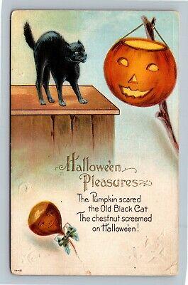 HALLOWEEN Vintage Henderson Postcard Black Cat Jack-O-Lantern Chestnut Screemed