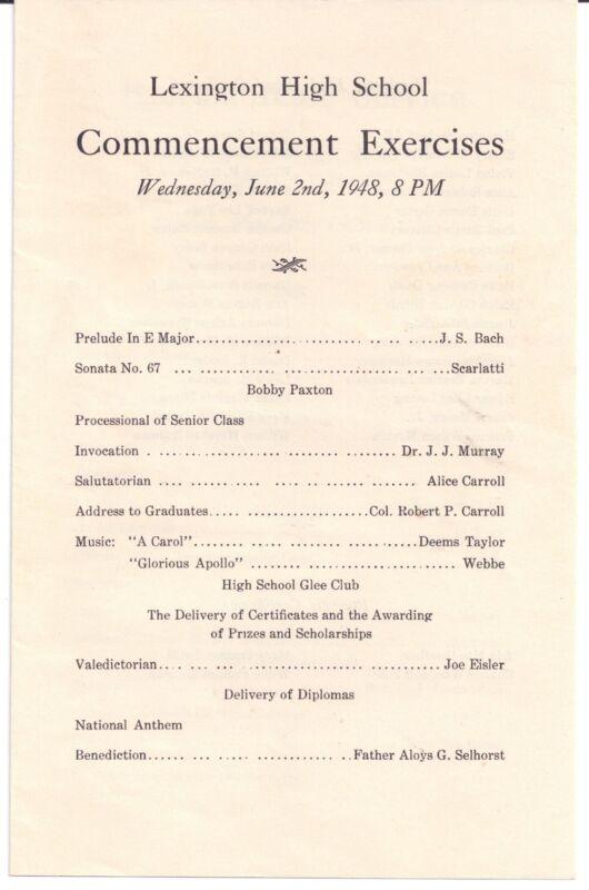 1948 LEXINGTON HIGH SCHOOL Virginia Commencement Exercises