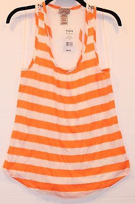 (Eyelash Couture Juniors Striped Neon Orange Sheer Lace Back Racerback Tank Top )
