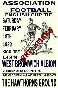 WEST BROMWICH ALBION - VINTAGE 1920's STYLE MATCH POSTER