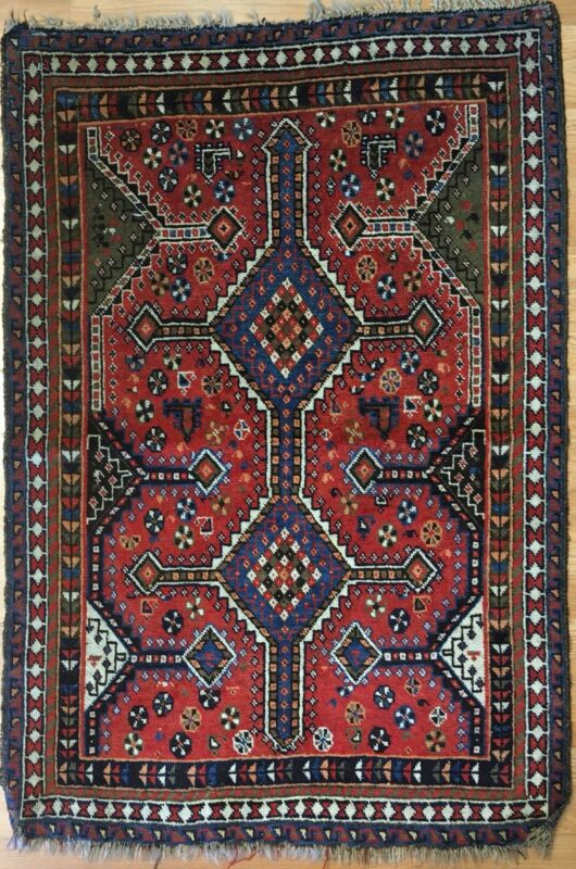 Terrific Tribal - 1930s Antique Oriental Rug - Nomadic Carpet - 2.10 X 4.4 Ft.