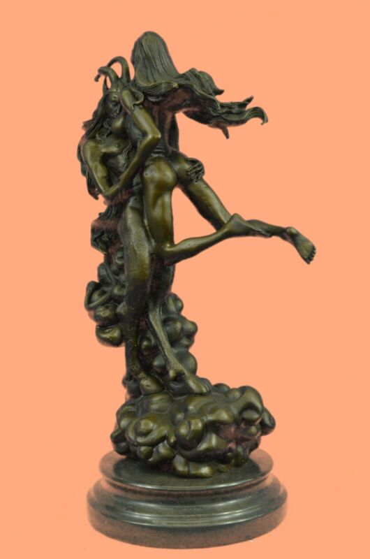 Collectible Art bronze sculpture On Solid Marble Base - Winged Devil With Girl