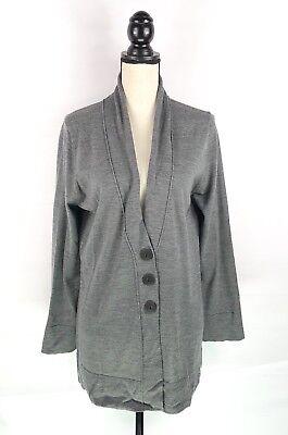 (J. JILL Cardigan Sweater Sz Large Gray Merino Wool Long Sleeve Three Button )