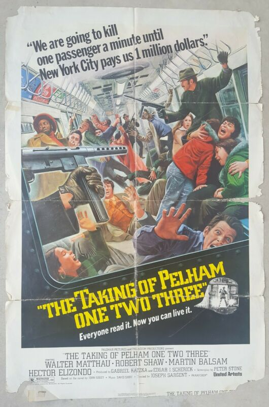 "Vintage The Taking of Pelham One Two Three 27""x41"" Movie Poster 1974 Matthau"