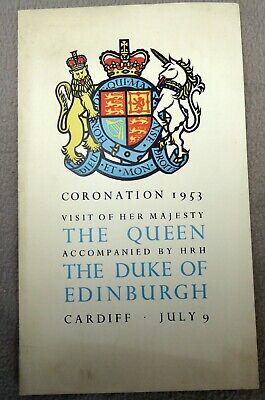 Queen Elizabeth 1953 Cardiff Visit Coronation Luncheon Menu
