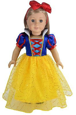 Princess Custome Inspired By Snow White Doll Clothes Dress For 18 inch American  - Snow White Custome