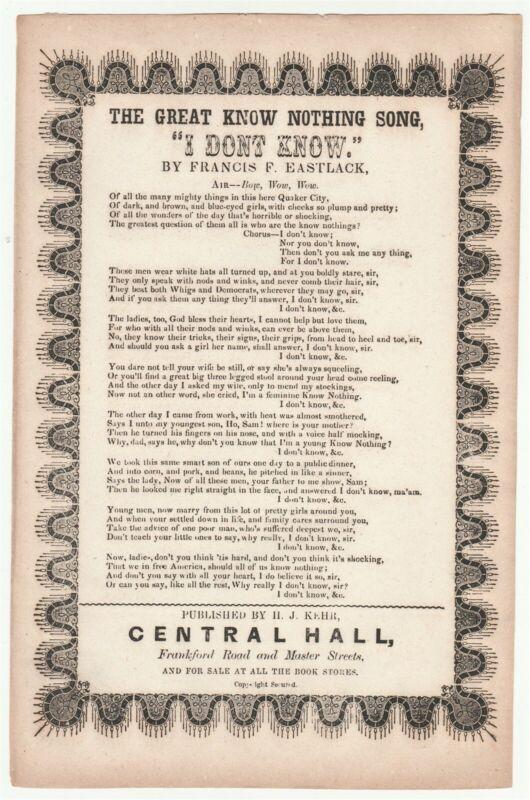 "1850s satirical song sheet ""I Don"