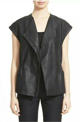 Vince Perforated Vest Leather Lamb Black Zip Moto Sz XXS Asymmetric Cap -