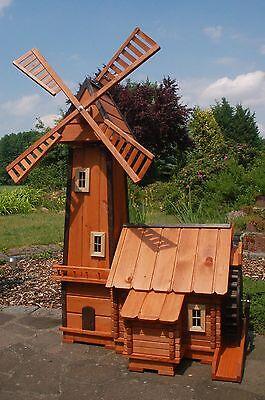 *Windmühle mit integrierter Wassermühle impräg. kugelg. aus Holz für den Garten
