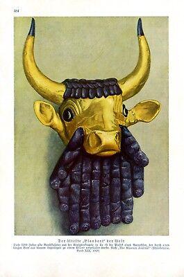Grabbeigabe aus Ur Mesopotamien Kunstdruck 1929 Blaubart Wisent Königsnekropole