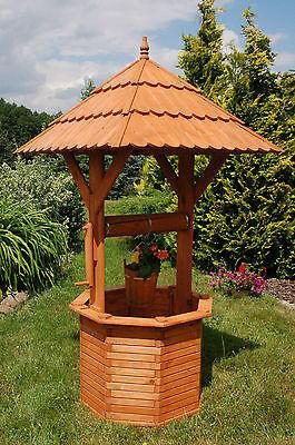 * XXL Zierbrunnen Holzbrunnen Brunnen Holz Garten 2,15m  Dach1,10 x 1,10 cm