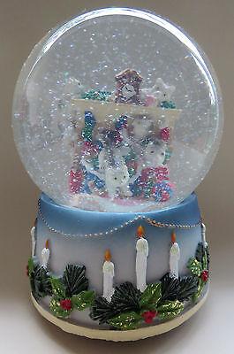 wunderschöne Schneekugel mit Spieluhr, spielende Katzen, NEU
