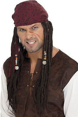 Pirate Dreadlocks Bandana Plaits Wig Jack Sparrow Caribbean Mens Fancy Dress Hat