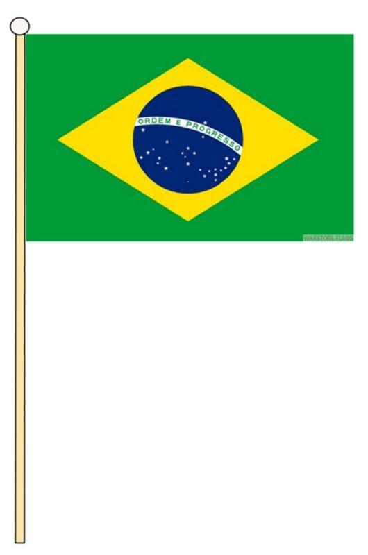 "BRAZIL 18"" x 12"" LARGE HAND WAVING COURTESY FLAG & POLE BRAZILIAN"