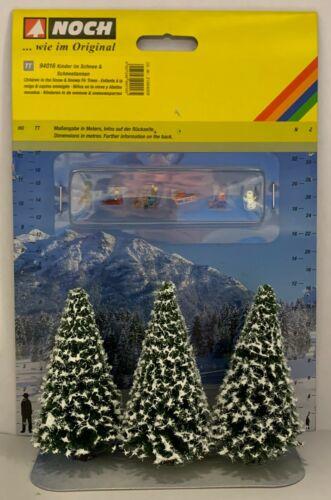 Noch 94016 Tt Children & Snow Firs Ausschmückungs-set Einmalserie # New Boxed #