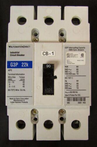 AUTOMATION DIRECT EATON Type G3P 22K Circuit Breaker 3 Pole 90 Amp G3P090