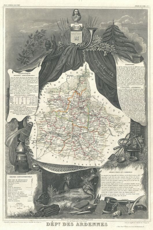 1852 Levasseur Map of the Department Ardennes, France (Champagne Region)