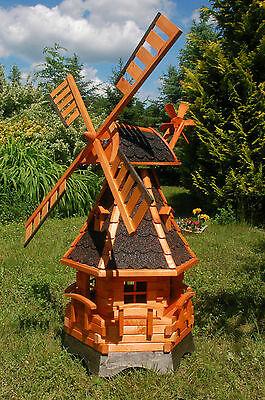 Windmühle, Windmühlen kugelgelagert 1,25m Beleuchtung Solar LED, Garten