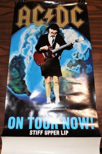 Vintage AC/DC CONCERT POSTER Stiff Upper Lip ON TOUR NOW Elektra 2000 promo ROCK