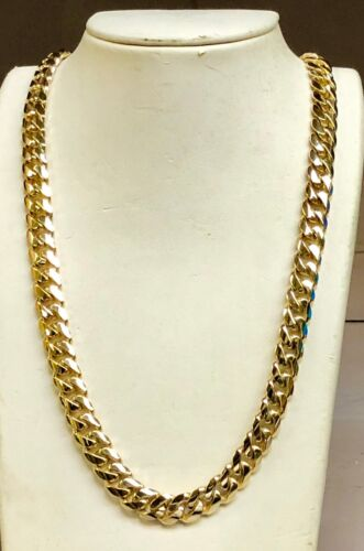 """14k Solid Gold Miami Cuban Curb Link 30"""" 10.5 Mm 199 Grams Chain/necklace Mc300"""