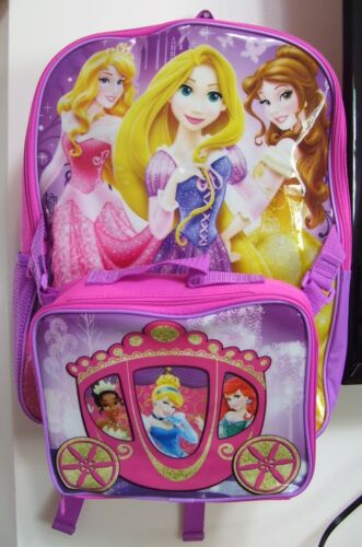 "Disney Princesses Deluxe 16"" Purple Pink 2 Pc School Back Pack and Lunch Box"