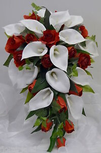 Silk Calla Lily Wedding Bouquets on 1x Teardrop Wedding Bouquet Silk Bouquets White Calla Lily Rose Red