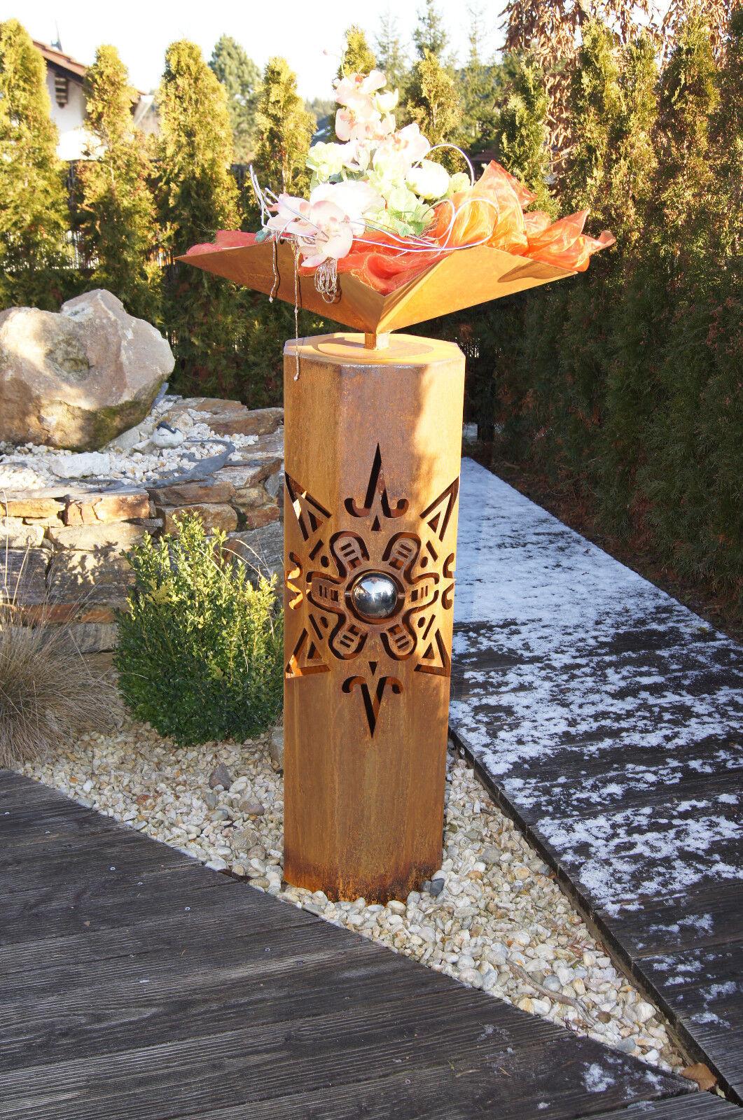 8 eck s ule maya sonne edelrost rost metall gartendeko neu for Metall sonne gartendeko