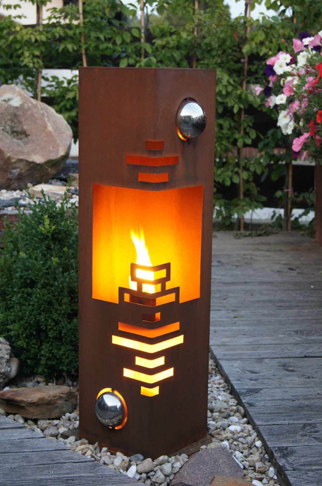 Feuer s ule modern edelrost rost metall gartendeko stele fackel windlicht eur 79 00 picclick nl - Metall gartendeko ...