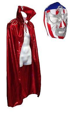 Adult Lucha Libre Halloween Luchador Costume Lycra Cape & USA Patriot Mask - Lucha Libre Halloween Costume