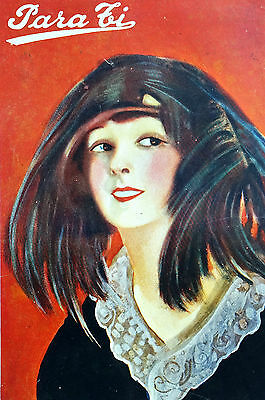 Para Ti Spanish Argentina 1920 Matted Art Cover LADY UNUSUAL FEATHER HAT