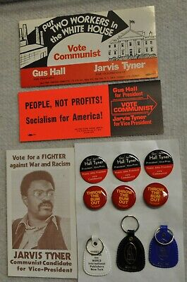 12 Communist Party USA Items - Peace, Jobs, Freedom - Vote Communist - 1972