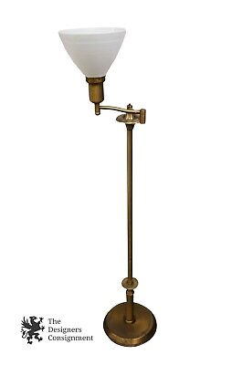 Vtg Heavy Brass Swing Arm Swivel Floor Lamp Milk Glass Shade Art Deco Read Light Brass Swivel Arm Floor Lamp