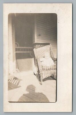 "Toddler in Wicker Rocking Chair RPPC Porch Shadow—Antique Photo ""Donald Dillman"""