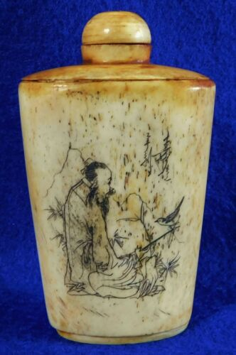 Superb Very Old Rare Antique SIGNED Carved Chinese Snuff Bottle