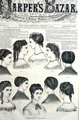 Victorian Hair Styles 1869 BRAIDS LONG CURLS CHIGNON CREPES RIBBONS Matted Print