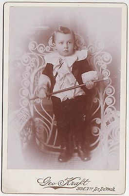1890-9 Cabinet Card:/Young Boy in Best Clothes/With Cane/ Elaborate Wicker