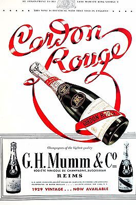 Mumm 1929 Vintage Champagne 1937 GORDON ROUGE WINE Matted Ad Alcohol Advertising