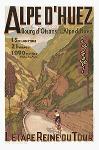 ALPES-DHUEZ-France-Vintage-Tour-De-France-Travel-Poster-A1A2A3A4Sizes