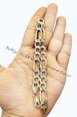 9 Inch Figaro Bracelet - 10k Yellow Gold Figaro Diamond Cut Men Bracelet 9 Inch Rope Cuban Curb 100% Real