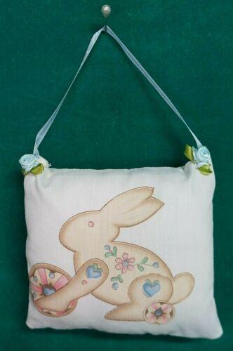 Handmade Fabric NURSERY DOOR KNOB HANGER Bunny Rabbit w/Blue Ribbon Hanger