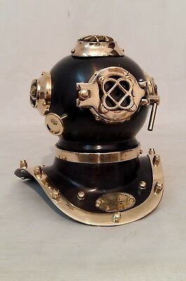 Antique US Navy Mark Solid Brass And Steel Diving Divers Helmet Mini Scuba