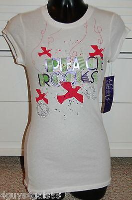 JR Womens Tee Shirt JEWELED RHINESTONE Peace Rocks BIRDS S 3-5 White CAP SLEEVE* Bird Womens Cap Sleeve T-shirt