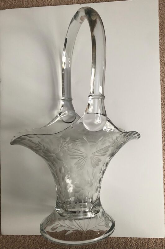 Heisey Large Glass Basket Floral & Butterfly Etching