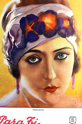 Para Ti Spanish Argentina 1920 Matted Art Cover BEAUTIFUL LADY FLOWER CAP HAT