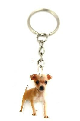 Hunde Schlüsselanhänger silberfarben Tier Modeschmuck Chihuahua