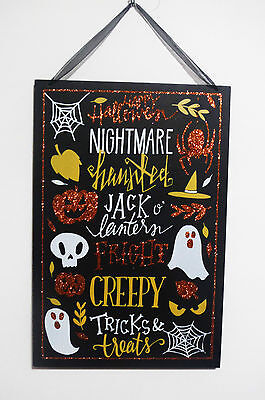 HALLOWEEN WOODEN HANGING SIGN..W/QUOTES BORDER W/ WEBS.GHOSTS.JACK O.SPIDER ETC