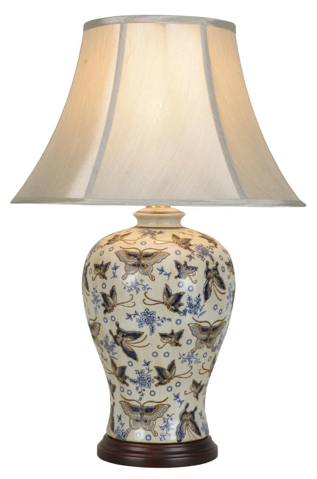 NOW £40 OFF - Ivory Butterfly Chinese Ceramic Porcelain Table Lamp (M9422)