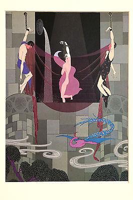 Erte 1982 - CHASTE SUSANNA - BONDAGE Men in CHAINS - Art Deco Print Matted